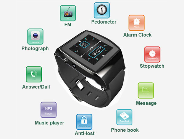 U8 Bluetooth Smart Wrist Watch Phone Features